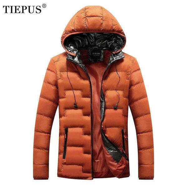 TIEPUS de invierno los hombres chaqueta informal para hombre de las chaquetas y abrigos de algodón acolchada Outwear Parka hombres rompevientos con capucha tamaño Ropa de hombres 3XL