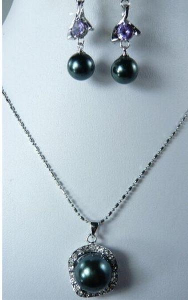 FREE SHIPPING Sallei natural nanyang pearl black 14mm shell bead pendant 10mm purple zircon drop earring set