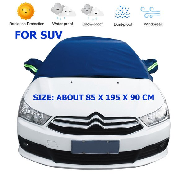 top popular Portable Car Half Cover PEVA Material Snow Cover Dust-proof Cover Long Style for Outdoor Indoor Car Acceesories 185x195x 90cm 2020