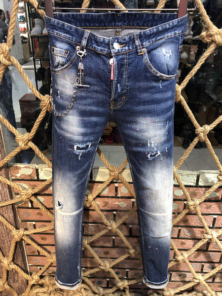 Fashion Italy Brand Rock Biker Jeans Men Ripped Denim Tearing D2 Trousers Skinny Mens Jeans For Men Cheap Pants Ruched Boy Jeans #9320