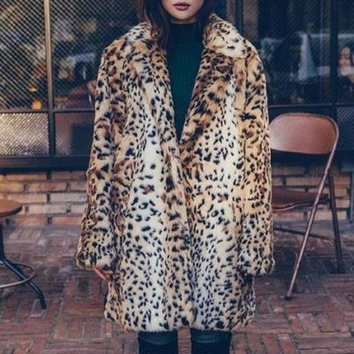 Furry Women Faux Fur Coats 2020 Sexy Ladies Outerwear Leopard Printed Fake Coats Vintage Thicken Furry Winter Jacket M773