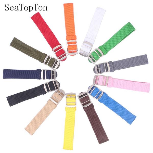 14 milímetros 16 milímetros 18 milímetros 20 milímetros 22 milímetros cor sólida Perlon Tecido Nylon pulseiras pulseira de tecido Watch Strap Banda fivela do cinto preto azul