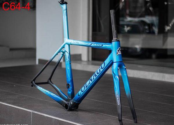 2019 Yeni varış T1100 3 K Mat-Parlak Siyah Kırmızı Colnago C64 karbon yol çerçeve bisiklet Frameset seçim için 6 renkler ile