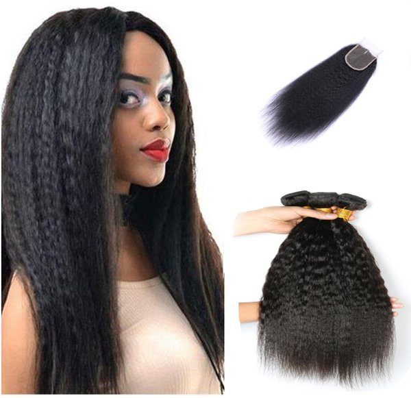 3 Bundles Kinky Straight Hair Bundles With 4*4 Lace Closure With Baby Hair 100% Remy Hair Afro kinky Free Shipping