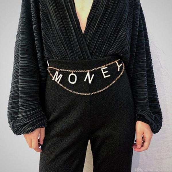 Vintage Katmanlı Vücut Zinciri Kadınlar Bildirimi Retro Göbek Bel Zincirleri Elbise Parti Aksesuarları Kristal Rhinestone PARA Harf Kemer Takı