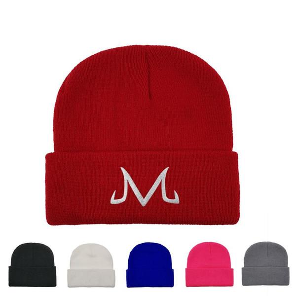 M Nakış Örgü Şapka Erkekler Pamuk majin Buu Örme kasketleri Cap Nedensel Açık Kadın Gezi Kayak Cap LJJ_TA1674 Isınma