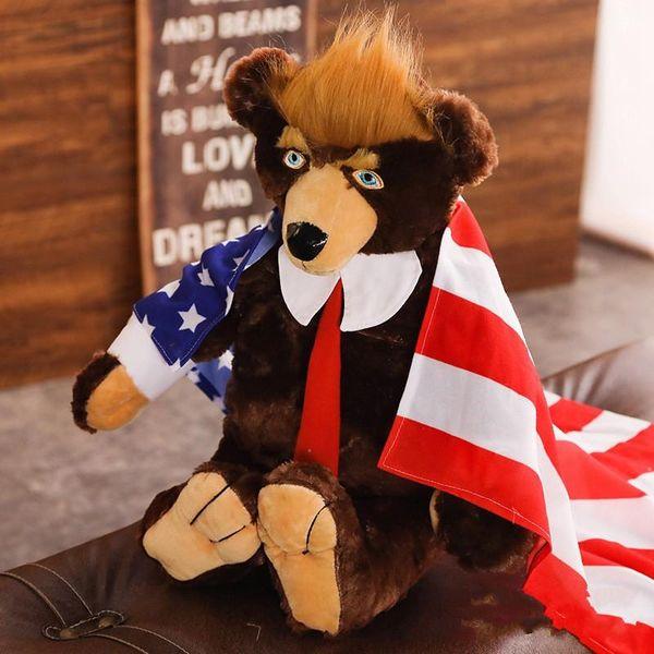 Donald Trump Doll Bears Gran tamaño Teddy Bear USA Bandera nacional Peluche Corbata de juguete Decorar Regalo de Navidad Marrón 49as C1