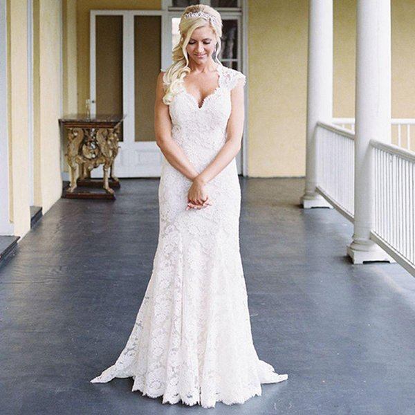 Lace Mermaid Wedding Dresses Short Sleeves V Neck Western Country Wedding Dresses Open Back Cheap Garden Bridal Gowns