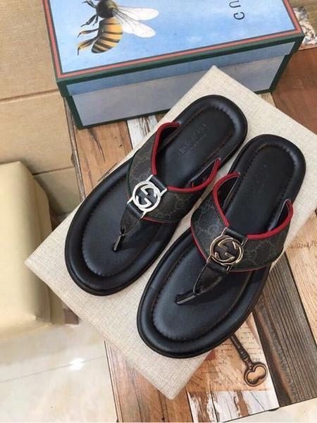 duping520 Flip flops d'été Hommes Pantoufles Sandales conducteurs Slides Sneakers en cuir Slipper