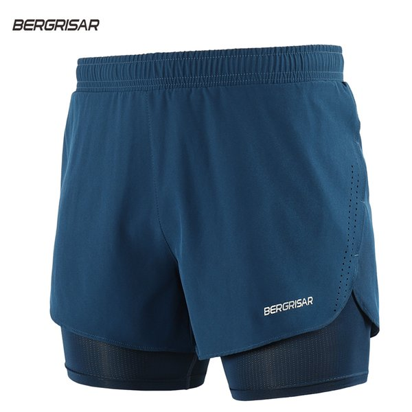 BERGRISAR Men 2 in 1 Running Shorts with Long Linner Quick Dry Sport Training Athletic Crossfit Fitness Gym Shorts Marathon