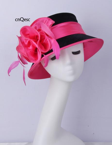 2019 chapéu de veludo chapéu de veludo rosa quente preto senhoras chapéu formal vestido pena fascinator para a igreja do casamento kentucky derby.