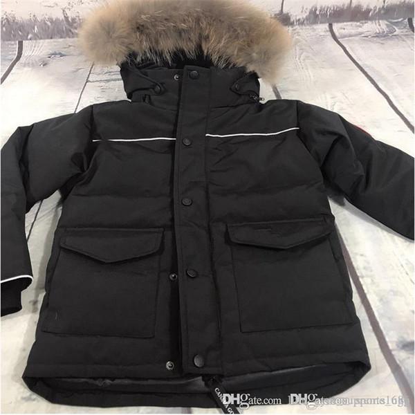 Канада Gose пуховики Дети зима теплая с капюшоном вниз пальто Мальчики Девочки Outwear Дети вниз ветровки куртки для детей сгущает пальто ветровка 10