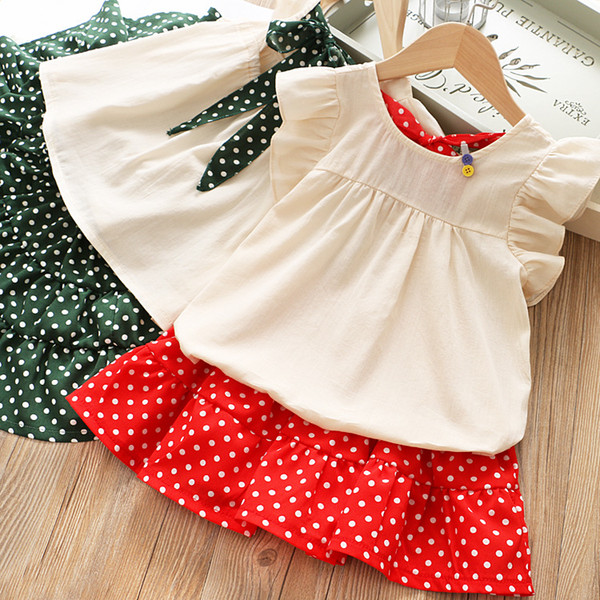 ebc6c86977d9b 2019 Girls Bow Shirts+Polka Dot Skirts Set Summer 10 Kids Boutique Clothing  1 6T Little Girls Ruffle Sleeves Outfits High Quality From Jaderabbit, ...