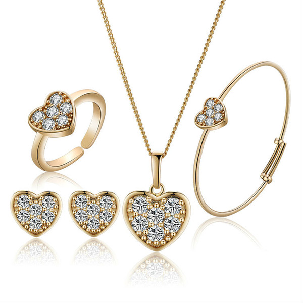 New Arrival Strawberry Girls Gold-Color Child Jewelry Sets Pendant Necklace Bracelet Baby Ring Earrings 1S18K-87 gift