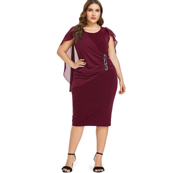 Wipalo Plus Size Rhinestone Ruched Embellished Capelet Dress Summer O Neck Sleeveless Women Dresses Ol Party Dress Vestidos 5xl Y190425