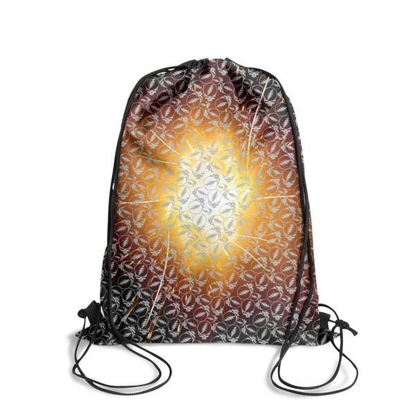 Drawstring Sports Backpack grateful dead steal your face gray vintage convenient pull string Travel Fabric Backpack