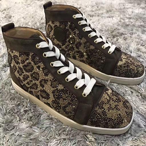 Известный дизайнер обуви Orlato Flats Мужские Женские кроссовки Brand-моды высокого верхнего Leopard Strass Red Bottom Квартиры Красный подошв кроссовки с коробкой