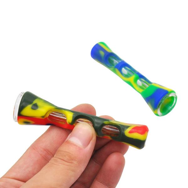 coloré fumer silicone pipe Mini verre Pipes pipe main Tuyaux silicone tabac avec le tube en verre Shisha Portable