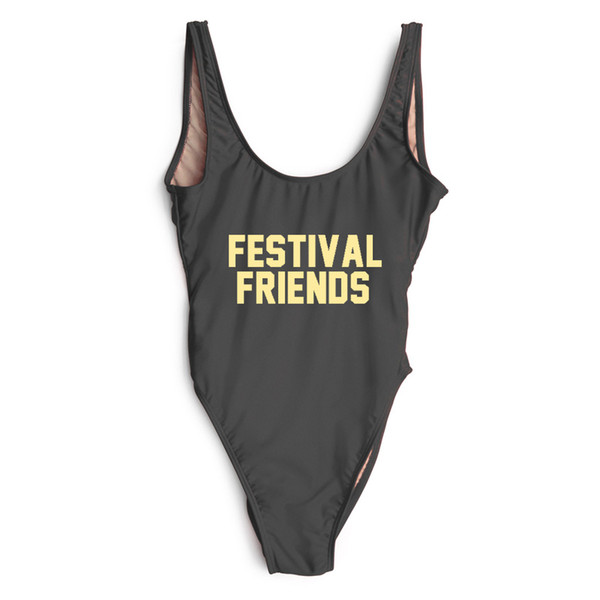 7118bb371c Hot Sell Swimsuit Fashion One Piece FESTIVAL FRIENDS Letter Print Backless  High Cut Bathing Suit Bikini