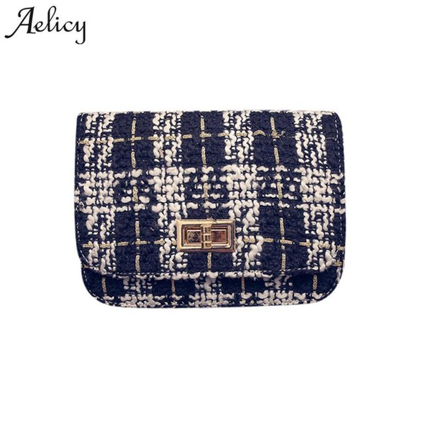 Aelicy High Quality Women Fashion Wool Striped Chains Flap Bags Pop Design Hasp Bag Female Leather Our Brand Soft Hasp Women Bag