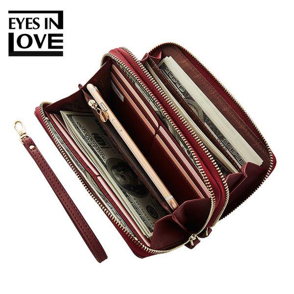 EYES IN LOVE Brand New 2019 ladies handbag wallet large capacity double zipper long paragraph simple hand take purse bag