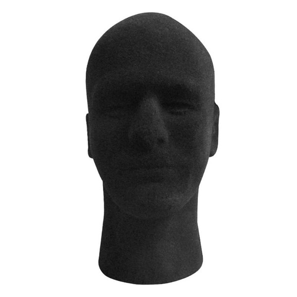 Noir 30 cm haute Pratique Mousse Mâle Mannequin Tête Perruque Se Détend Perruques Lunettes Casquette Présentoir Support à Styler Modèle