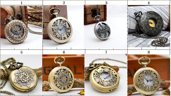 DHL-50pcs-wholesale-New large ancient engraved round pocket watch retro jewelry fashion watch leave message to choose style