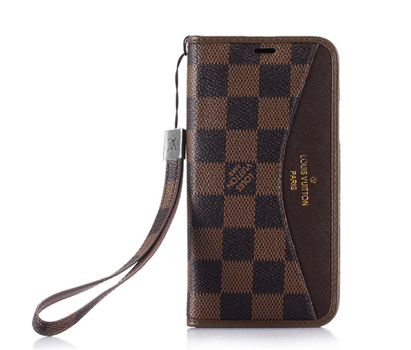 Classic Pattern Designer Phone Case with Hand Strap for Iphone X XS MAX 8 Plus 7 Plus Case Leather Wallet Cover with Holder and Flip Shell