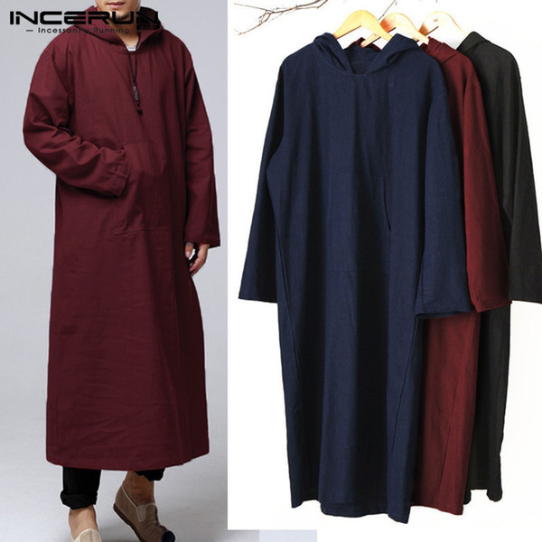 INCERUN Men Hoodies Hooded Long Sleeve Vintage Pockets Robe Arab Islamic Kaftan Muslim Clothes Loose Solid Cotton Sweatshirt Men #345506