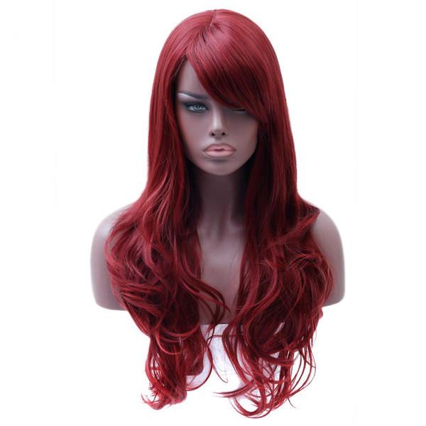 spitzeperücke Lange Wellenförmige Rote Perücke Womans Hitzebeständige Synthetische Weibliche Perücken Für Schwarze Weiße Frauen Gefälschte Haarteile
