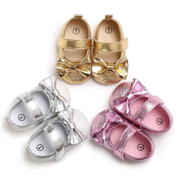 Newborn Baby Girl Crib Shoes Princess Bowknot Soft Sole Sneakers Prewalker 0-18M