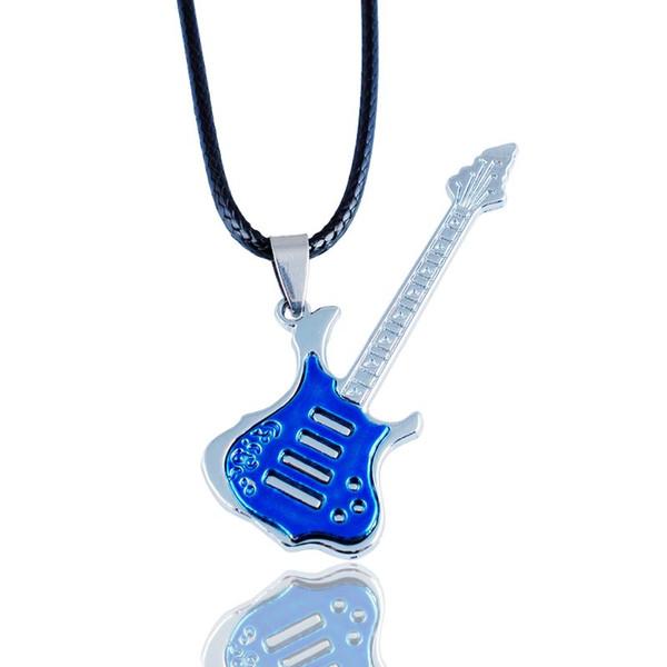 top popular Fashion Titanium Steel Music Guitar Tag Pendant Necklace Hip Hop Titanium Steel Guitar Tag Pendant Necklace 2021
