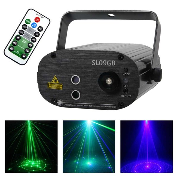 Mini Proiettore Effetto Luci Laser Per Disco Discoteca Dj.Acquista Aucd 9 Pattern Gb Luce Laser Verde Blu 3w Led