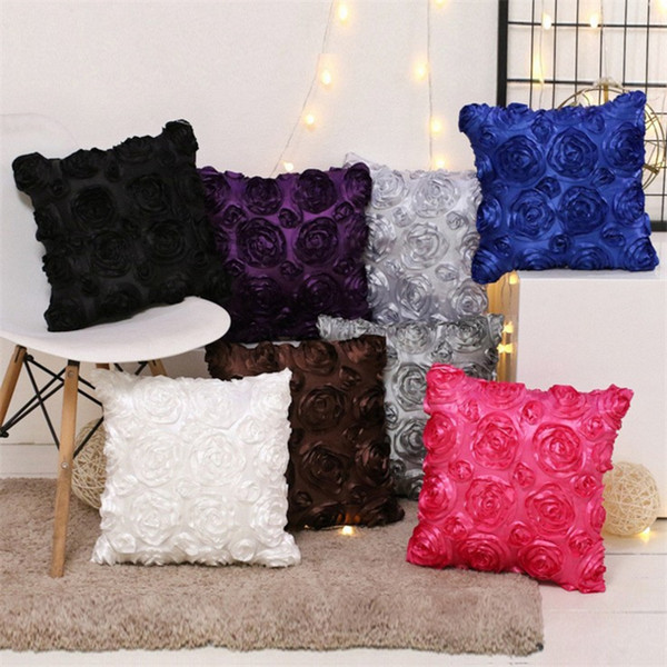 40*40cm fancy wedding gift cushion pillow case cubic Rose Flower Hotel cushion sleeve pillow cover Bedding Supplies T3I5093