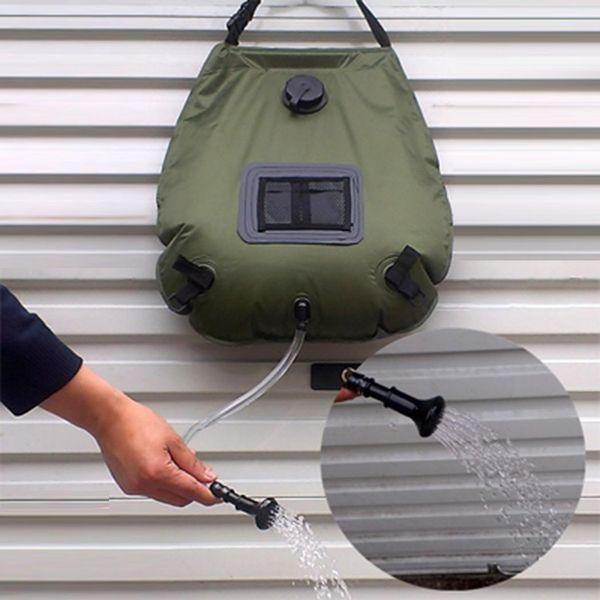 Senderismo al aire libre Camping Ducha solar climatizada Bolsa de baño Bolsa de agua de ducha Kits de viaje portátiles de 20L Accesorios de la tienda