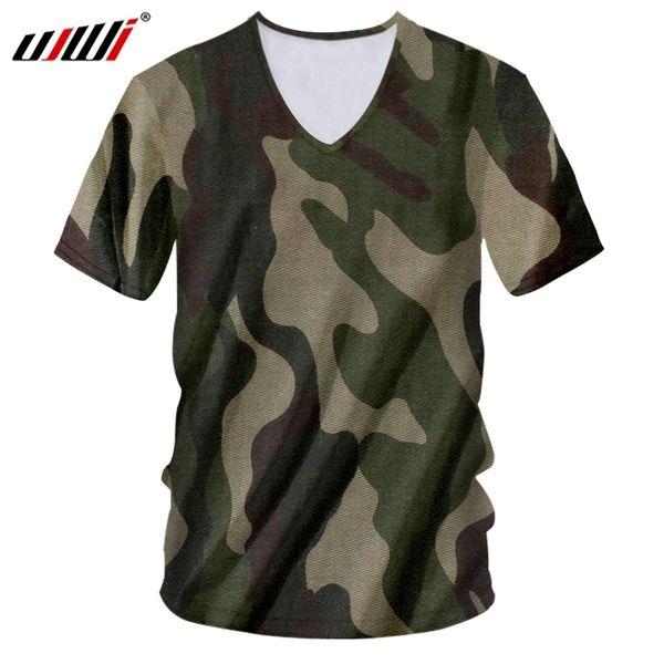 Ujwi Shirt Men New Deep V Neck Slim Fit 3d Tshirt Print Jungle Green Camouflage Funny Large Size Costume Male T Shirts C19041001