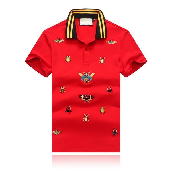 19SS La camiseta de diseñador de ropa de hombre más nueva del verano Escarabajo de caramelo La solapa bordada del diseñador Camiseta de polo Collar de rayas amarillas