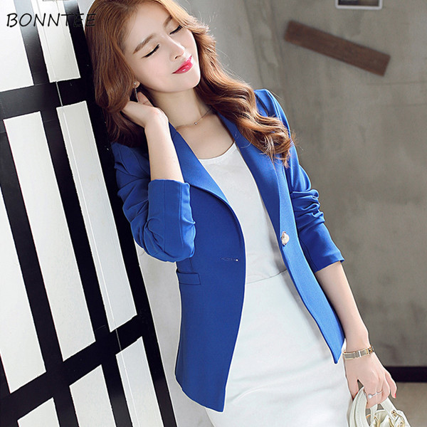 Blazers Women New Solid Single Button Long Sleeve Notched Collar Pocket Womens Blazer Elegant Leisure Trendy Ladies Korean Style