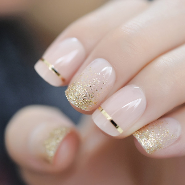 Fashion Short Nude French Nail Tips False Nails UV Gel Gold Glitter Artificial Press on Fake Nail Salon Decorated Full Cover