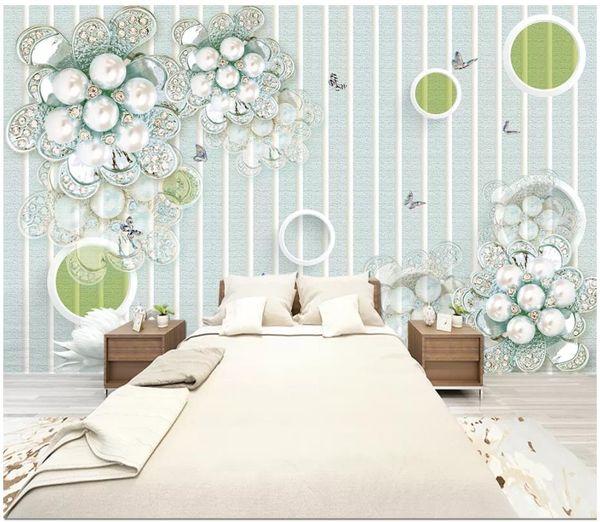 3d photo wallpaper High-end custom mural Silk wall sticker Simple luxury blue jewels flowers living room TV background wall papel de parede