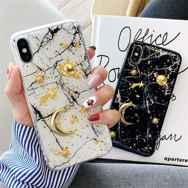 Luxury Glitter Bling Planet Moon Star DIY Soft TPU Phone Case Cover For iPhone XS Max XR 7 8 6s plus
