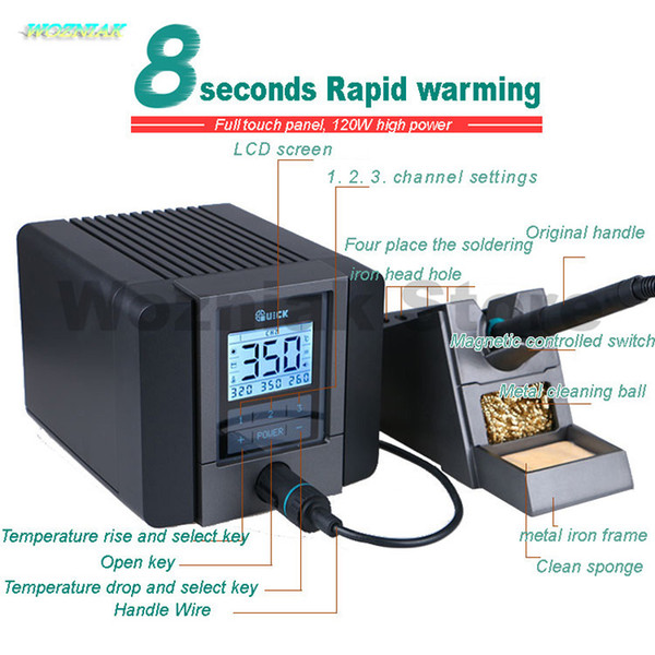 best selling Original QUICK TS1200A lead-free soldering station electric iron 120W anti-static soldering 8 second fast heating Welding