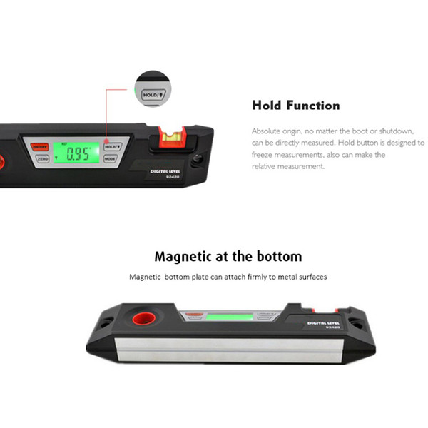 top popular Freeshipping Digital Angle Gauge Level Protractor Angle Finder Inclinometer With Magnetic Base Calculating For Carpentry Building Mason 2021
