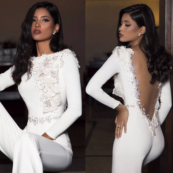 Elegant Satin Jumpsuits Long Sleeves Women Prom Dresses Lace Applique Beads Open Back Sexy Party Gowns Dubai Arabic Evening Dress 2020