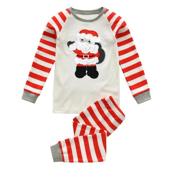 New Europe Christmas Baby Set Cotton Pajamas Santa Claus Kids Boys Girls Stripe Tops T-shirt + Pants Children Home Wear Outfits Set 4399