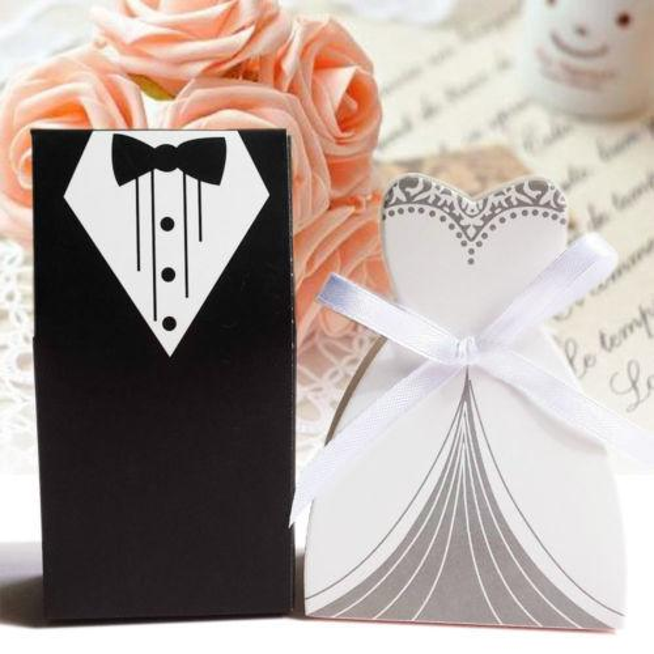 100pcs Wedding Favor Candy Box Bride & Groom Dress Tuxedo Party W/ Ribbon Free Shipping J190706