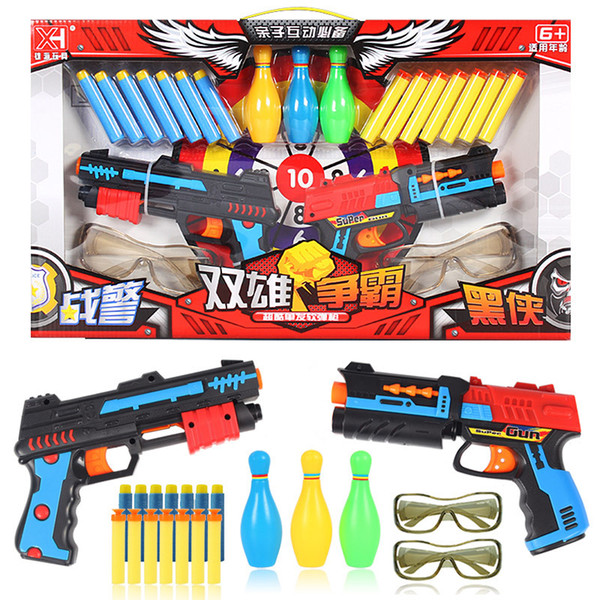 Children' Military Toy Guns, Soft Bullet with Target, Goggle, Bowling, Safety Harmless, for Kid Party Birthday' Gift, Collecting, Decoration