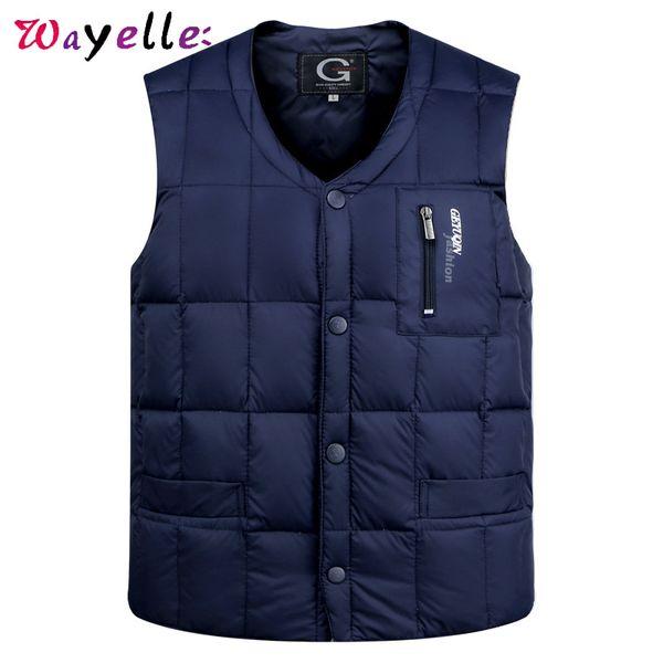 2019 duck down jacket vest men warm sleeveless v-neck button down winter vest men lightweight waistcoat fashion casual thumbnail