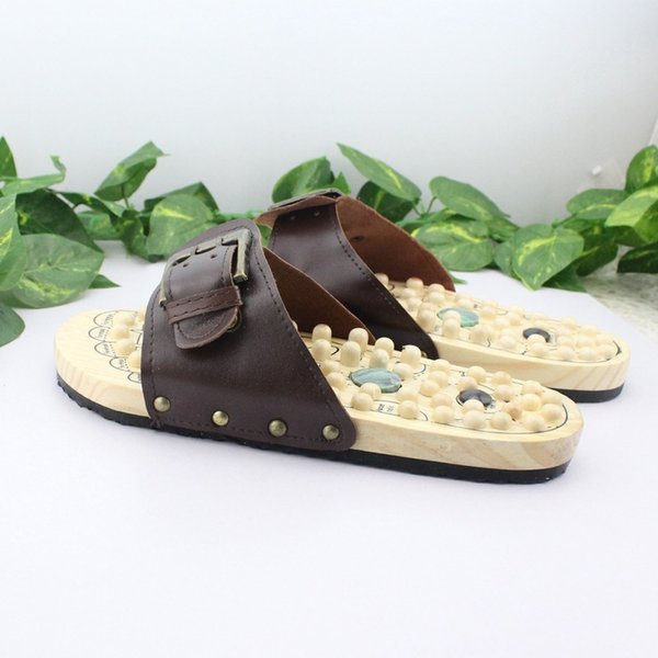 Health Care Wooden Base Acupunture Nail Health Shoes Massage Shoe Natural Stone Acupoint Fitness Slippers