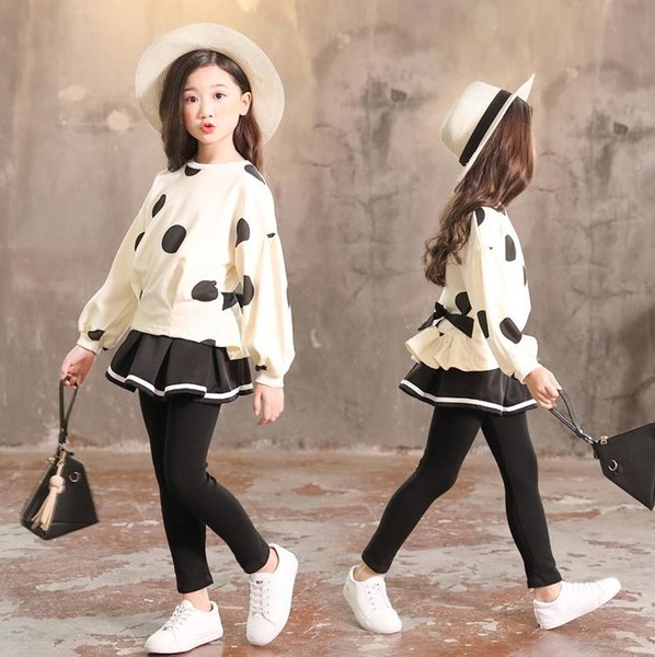 Children's clothing girls suit new spring autumn 2019 cotton baby clothes stretch long-sleeved shirt + Skirt pants 3-10 years